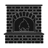 Fire, warmth and comfort. Fireplace single icon in black style vector. Stock Image