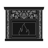 Fire, warmth and comfort. Fireplace single icon in black style vector symbol stock illustration web. Royalty Free Stock Image