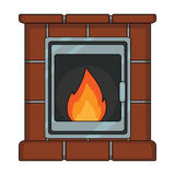 Fire, warmth and comfort. Fireplace single icon in cartoon style  Stock Image