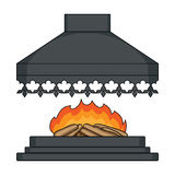 Fire, warmth and comfort. Fireplace single icon in cartoon style  Stock Images