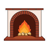 Fire, warmth and comfort. Fireplace single icon in cartoon style  Stock Photography
