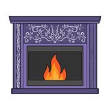 Fire, warmth and comfort. Fireplace single icon in cartoon style  Stock Photos