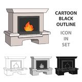 Fire, warmth and comfort. Fireplace single icon in cartoon style vector symbol stock illustration web. Fire, warmth and comfort. Fireplace single icon in Stock Photography