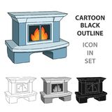Fire, warmth and comfort. Fireplace single icon in cartoon style vector symbol stock illustration web. Fire, warmth and comfort. Fireplace single icon in Stock Photos