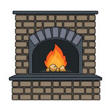 Fire, warmth and comfort. Fireplace single icon in cartoon style vector symbol stock illustration web. Royalty Free Stock Photos