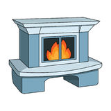 Fire, warmth and comfort. Fireplace single icon in cartoon style vector symbol stock illustration web. Royalty Free Stock Images