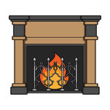 Fire, warmth and comfort. Fireplace single icon in cartoon style vector symbol stock illustration web. Royalty Free Stock Photography