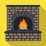 Fire, warmth and comfort. Fireplace single icon in flat style vector. Royalty Free Stock Photo
