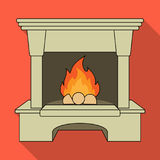 Fire, warmth and comfort. Fireplace single icon in flat style vector. Stock Photos