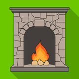 Fire, warmth and comfort. Fireplace single icon in flat style vector. Stock Images