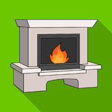 Fire, warmth and comfort. Fireplace single icon in flat style vector. Stock Photography