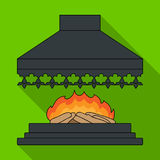Fire, warmth and comfort. Fireplace single icon in flat style vector symbol stock illustration web. Royalty Free Stock Photography
