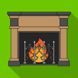 Fire, warmth and comfort. Fireplace single icon in flat style vector symbol stock illustration web. Fire, warmth and comfort. Fireplace single icon in flat Royalty Free Stock Photos