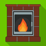 Fire, warmth and comfort. Fireplace single icon in flat style vector symbol stock illustration web. Fire, warmth and comfort. Fireplace single icon in flat Royalty Free Stock Images