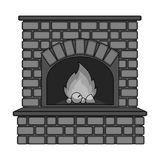 Fire, warmth and comfort. Fireplace single icon in monochrome style vector. Stock Photo