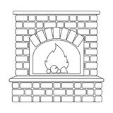 Fire, warmth and comfort. Fireplace single icon in outline style vector. Stock Images