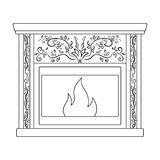 Fire, warmth and comfort. Fireplace single icon in outline style vector symbol stock illustration web. Royalty Free Stock Photography