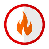 Fire warning flat icon. Vector sign, colorful pictogram isolated on white. Symbol, logo illustration. Flat style design Stock Photo