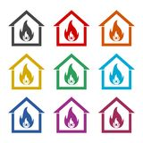 Fire warning icon, color icons set. Simple vector icon Stock Images