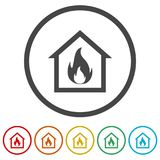 Fire warning icon, 6 Colors Included. Simple  icons set Stock Photography