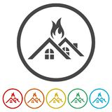 Fire warning icon, 6 Colors Included. Simple  icons set Stock Image