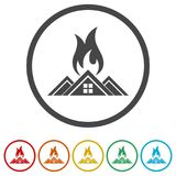 Fire warning icon, 6 Colors Included. Simple vector icons set Royalty Free Stock Photos