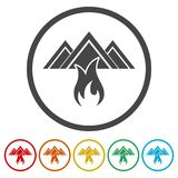 Fire warning icon, 6 Colors Included. Simple vector icons set Royalty Free Stock Photo