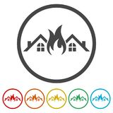 Fire warning icon, 6 Colors Included. Simple vector icons set Stock Images