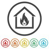 Fire warning icon, 6 Colors Included. Simple vector icons set Royalty Free Stock Images