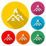 Fire warning icon, House warning icon, color icon with long shadow. Simple vector icons set Royalty Free Stock Image