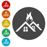 Fire warning icon sign. Fire warning icon, simple vector icons set Royalty Free Stock Photography