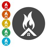 Fire warning icon sign. Fire warning icon, simple vector icons set Stock Photos