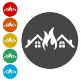 Fire warning icon sign. Fire warning icon, simple vector icons set Stock Photography