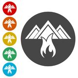 Fire warning icon sign. Fire warning icon, simple vector icons set Stock Image