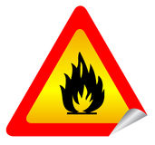 Fire warning sign. Fire warning sticker over white Stock Photos