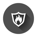 Fire warning sign shield. Fire flame vector illustration with long shadow Royalty Free Stock Images