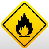 Fire warning sign. Vector sign background Stock Photos