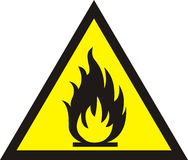 Fire warning sign on white background. Illustration Royalty Free Stock Photos