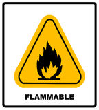 Fire warning sign in yellow triangle. High Flammable Materials. Inflammable substances icon. Vector banner isolated on white Royalty Free Stock Image