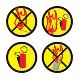 Fire Warning signs. Regarding the use of open flames stock illustration