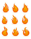 Fire warning symbols. On white background. Vector illustration Royalty Free Stock Image