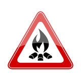Fire warning triangle sign. Fire warning triangle vector sign Royalty Free Stock Photography