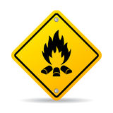 Fire warning vector sign. Illustration Royalty Free Stock Image
