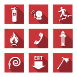 Fire Warnings Set. Fire Warning Signs - Flat Icons with Long Shadows - Vector Set Stock Photo