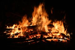 Fire was burning firewood in the dark Royalty Free Stock Image