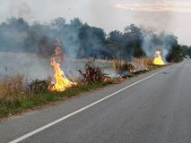 Fire was fired and burnt in agricultural area near local road to destroy dried straw make air and dust pollution. Pm2.5 Thailand smoke global warming outdoor royalty free stock photography