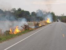 Fire was fired and burnt in agricultural area near local road to destroy dried straw make air and dust pollution. Pm2.5 Thailand smoke global warming outdoor royalty free stock image