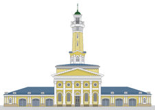 Fire watch old tower in Kostroma city. Vector illustration Stock Photography