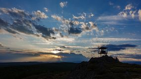 Fire watching hut at dusk, backlight Royalty Free Stock Photography