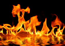 Fire on water Royalty Free Stock Photography